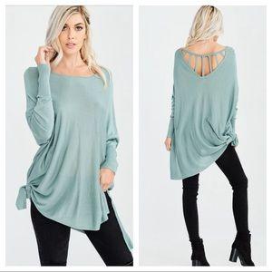 Mint side Tie light weight long sleeve knit top